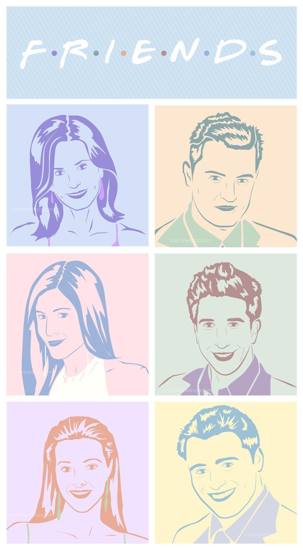 Ilustración Friends Pastel