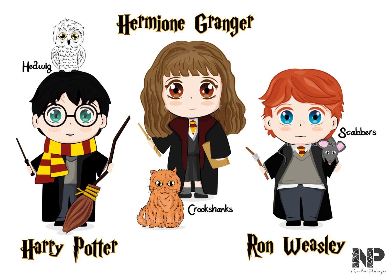 ilustración Harry potter, hermione y ron estilo cartoon