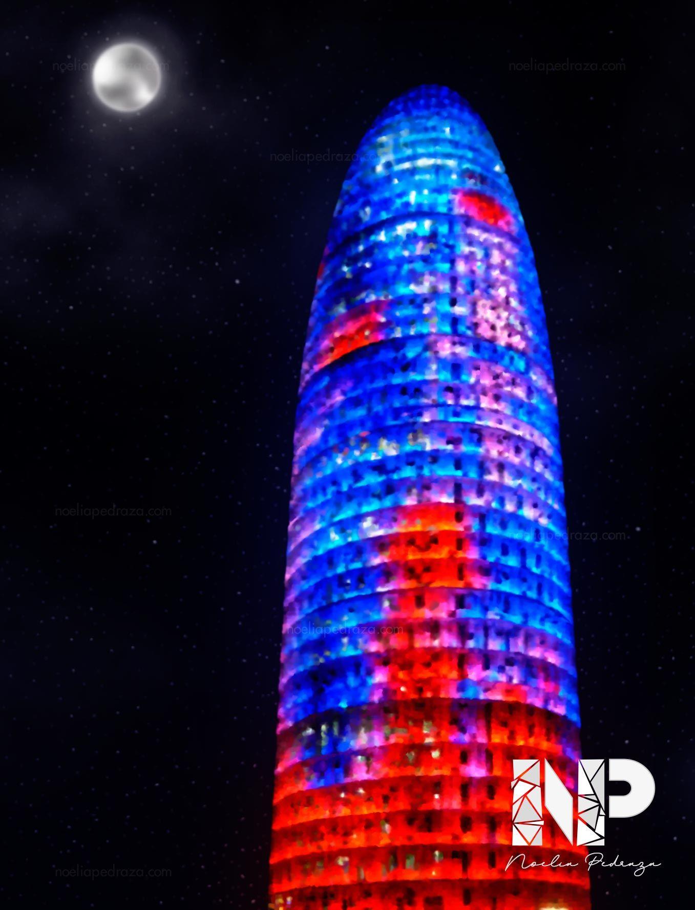 IlustraciónDibujo realista Torre Agbar de Barcelona