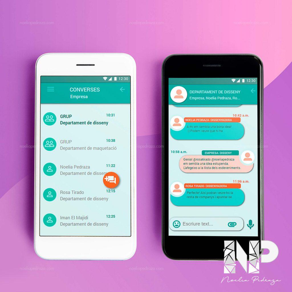 diseño de chat de aplicación