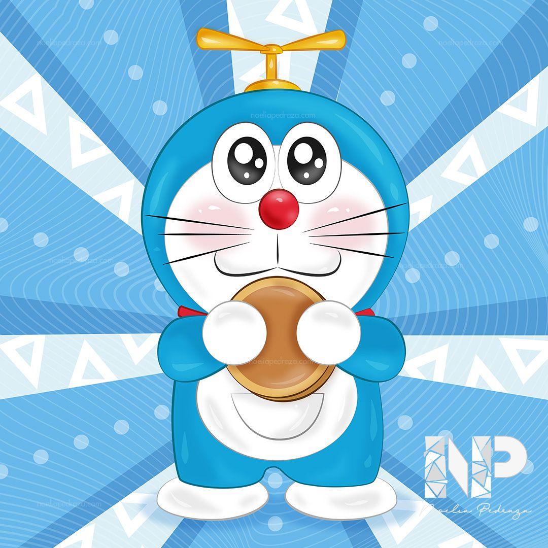 Dibujo de Doraemon kawaii con dorayaki