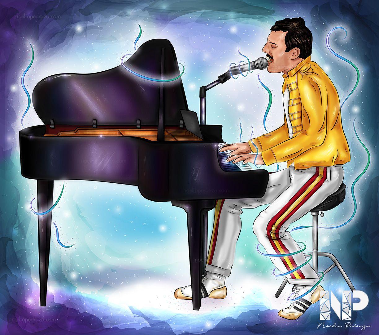ilustración heavy metal freddie mercury tocando el piano