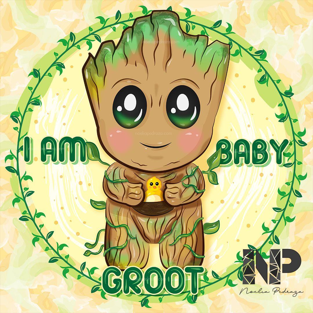 Ilustración Kawaii de Baby Groot