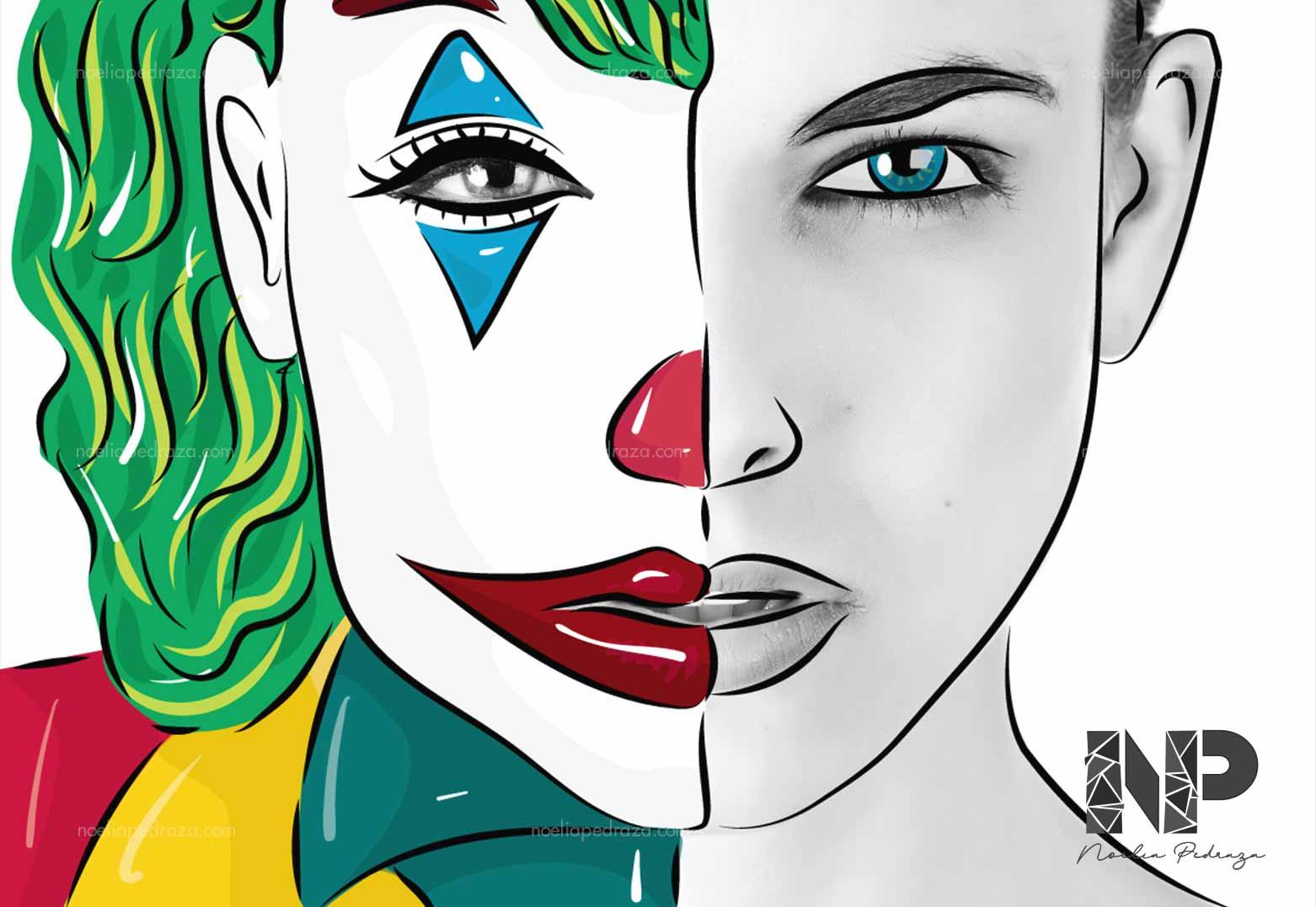 ilustración sobre fotografía woman joker