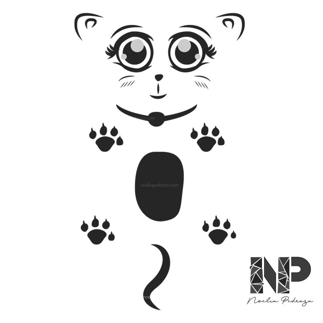 gato negro kawaii ilustración