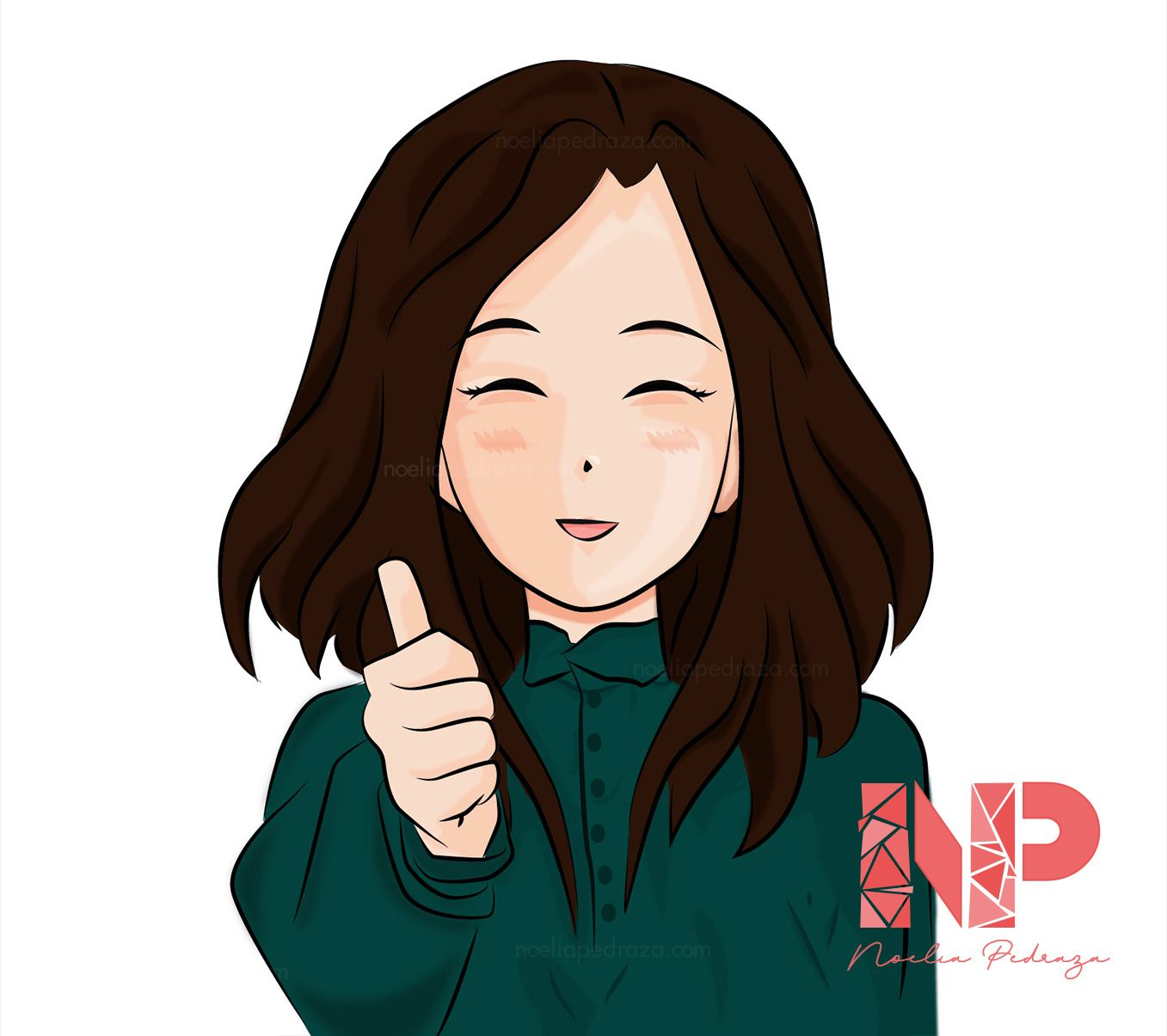 Ilustración chica sonriendo Anime