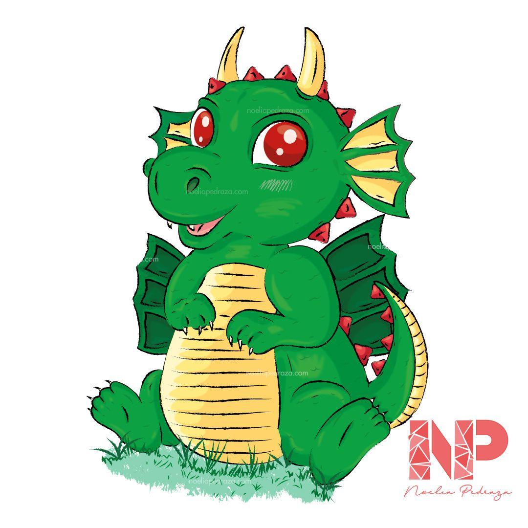 ilustración de dragoncito bebé