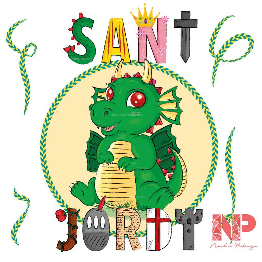 ilustración y texto para sant jordi