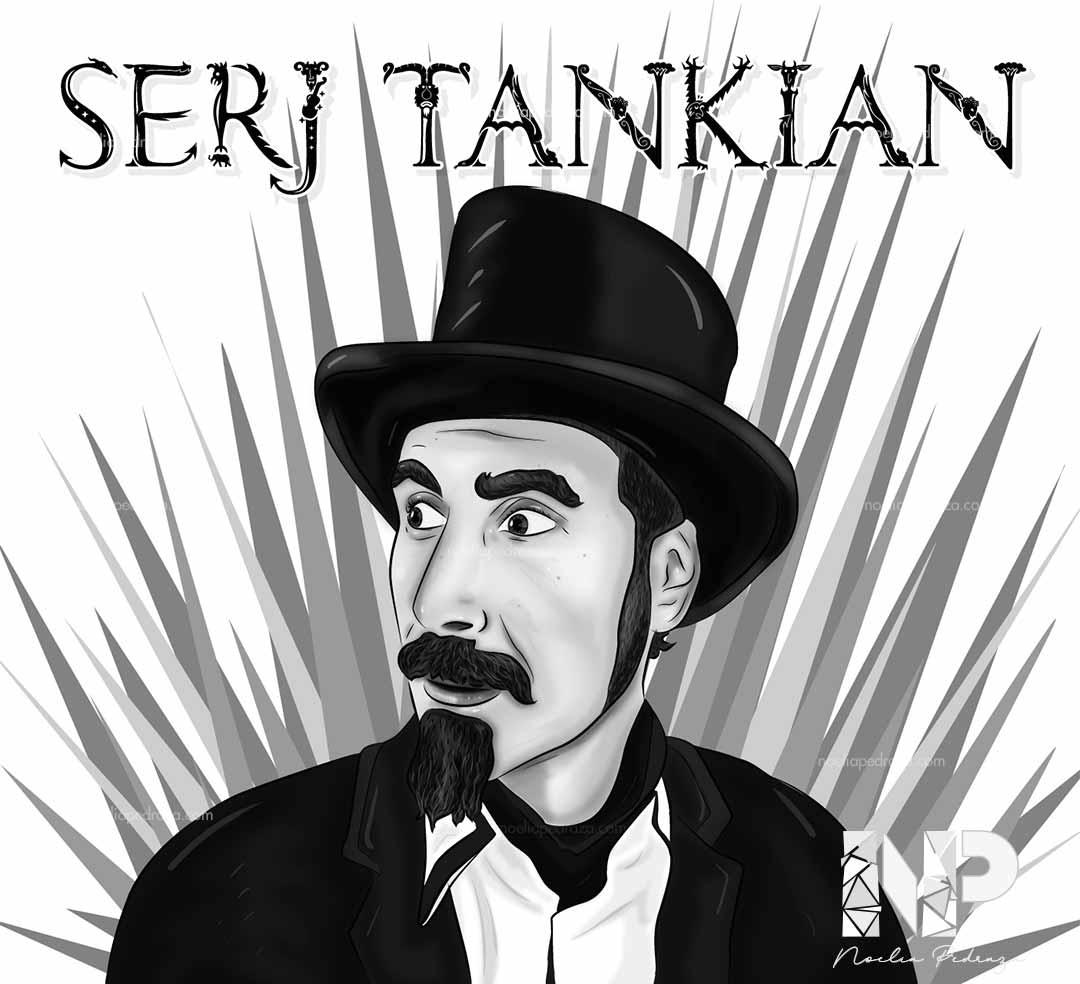 retrato digital en blanco y negro cantante serj tankian