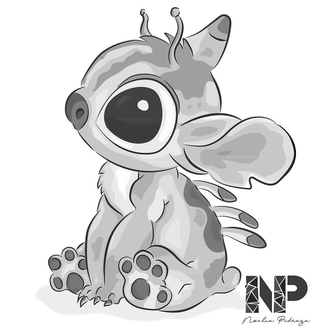 Dibujo de Lilo & Stitch en blanco y negro