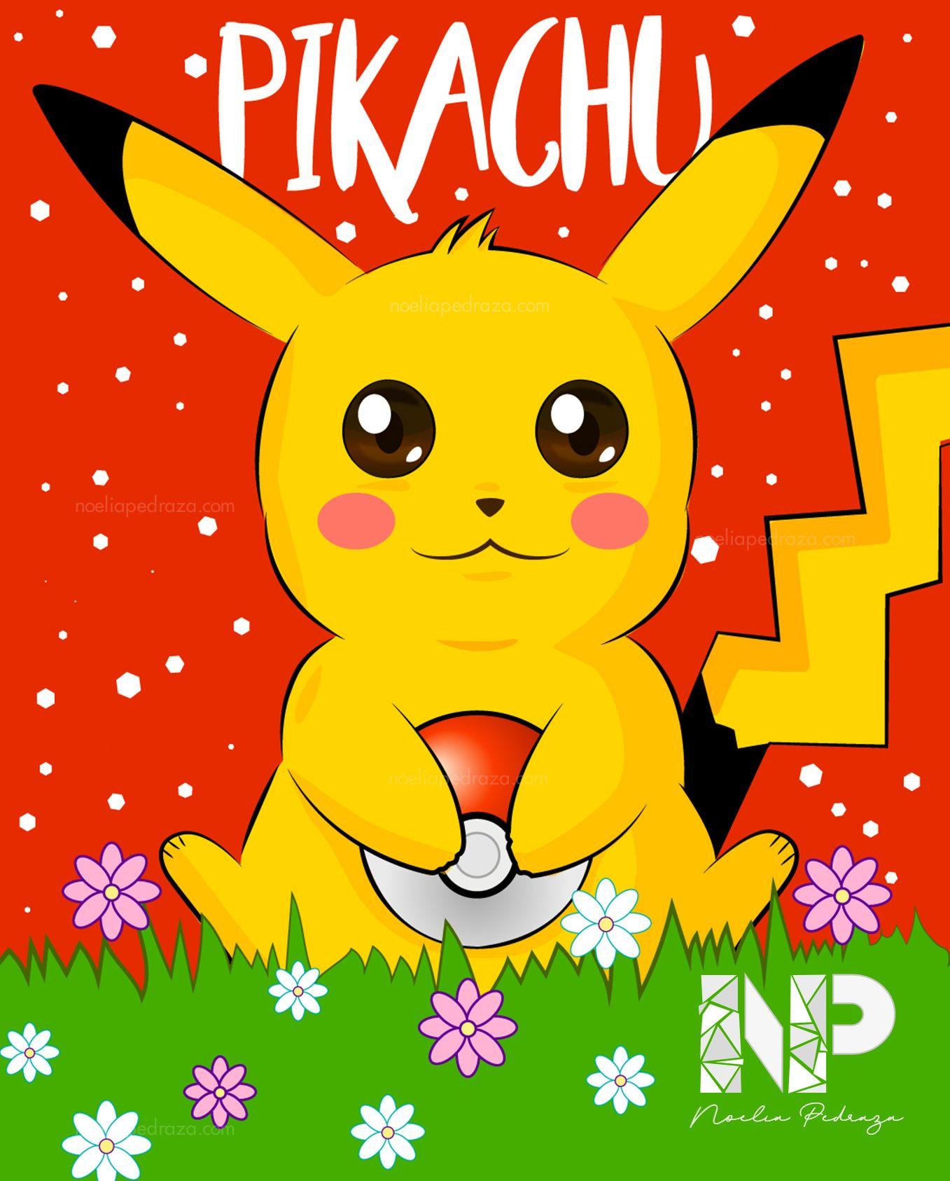 Ilustración colorida de pikachu