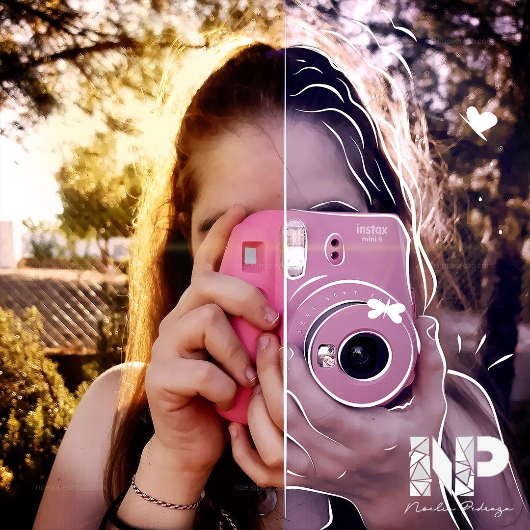 ilustración sobre fotografía retrato chica con cámara