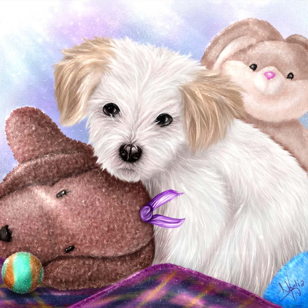 Dibujo realista perro blanco y peluches