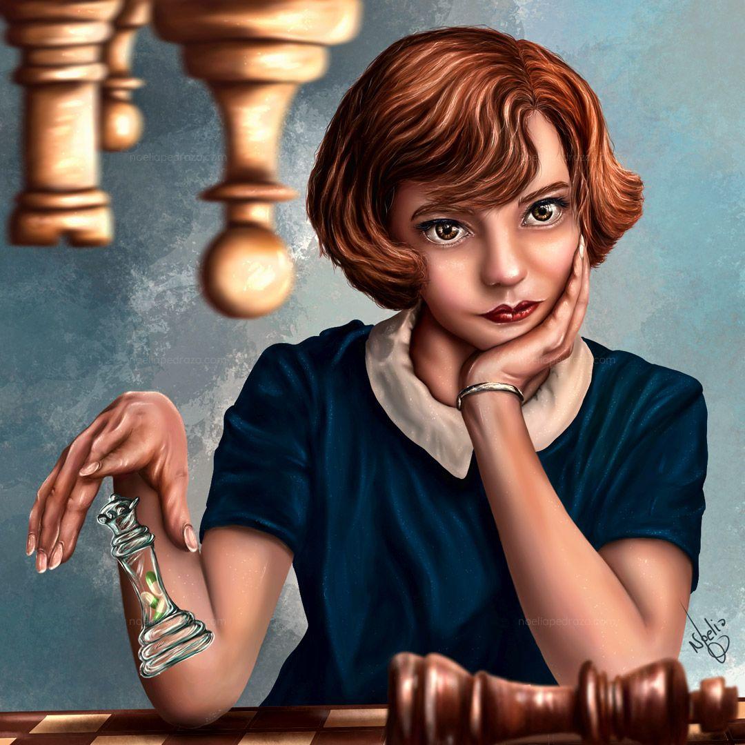 Ilustración semirealista de beth harmon Gambito de Dama