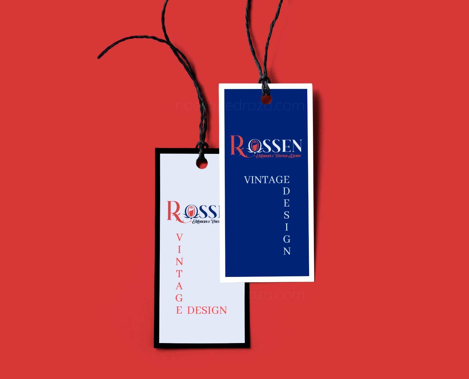Diseño de etiquetas para tienda de ropa denim Rossen