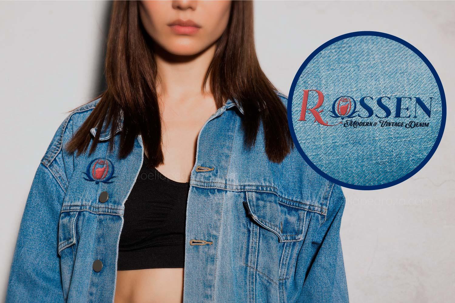 marca de ropa denim diseño de logotipo chaqueta