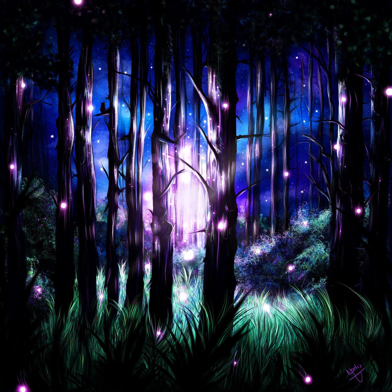 Dibujo digital bosque nocturno iluminado