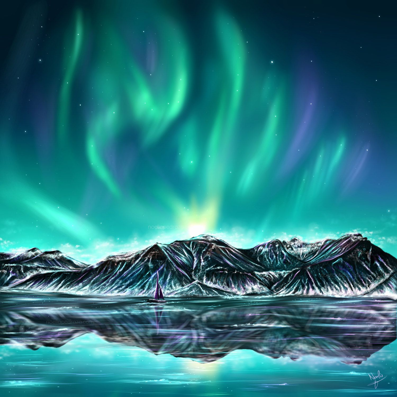 Dibujo digital Paisaje con auroras boreales